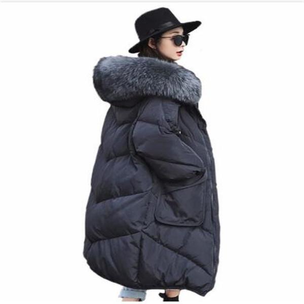 2018 Очень большой мех енота Белая пуховая утка Пальто женские сгущенные длинные пуховики свободного покроя свободные парки снег верхняя одежда