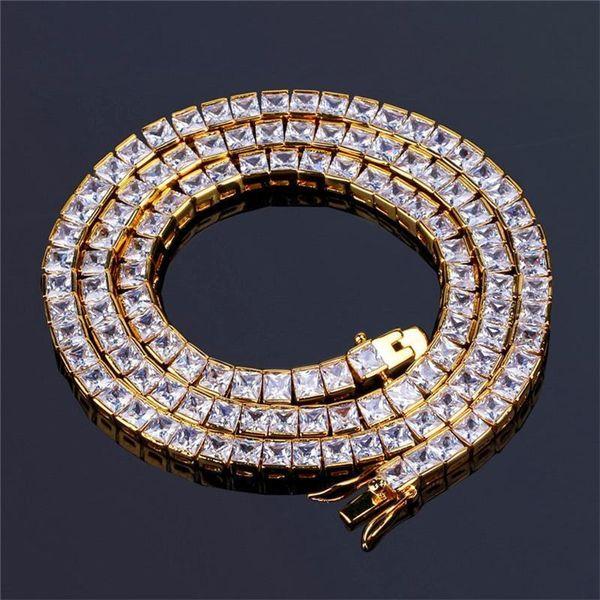 Lightyou999 6mm di alta qualità ghiacciato zircone Miami Cuban Link Collana girocollo Bling Bling Mens Hip Hop gioielli oro catena d'argento 18