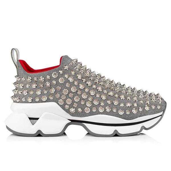 Auténticos Spike Sock Shoes Low Cut Spikes Flats Shoes Parte inferior roja para hombres y mujeres Zapatillas de cuero Diseñador de fiesta Zapatos de goma con caja