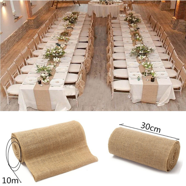 best selling Fashion Burlap Table Runner Wedding Party Supplies Chair Table Decorations Accessories