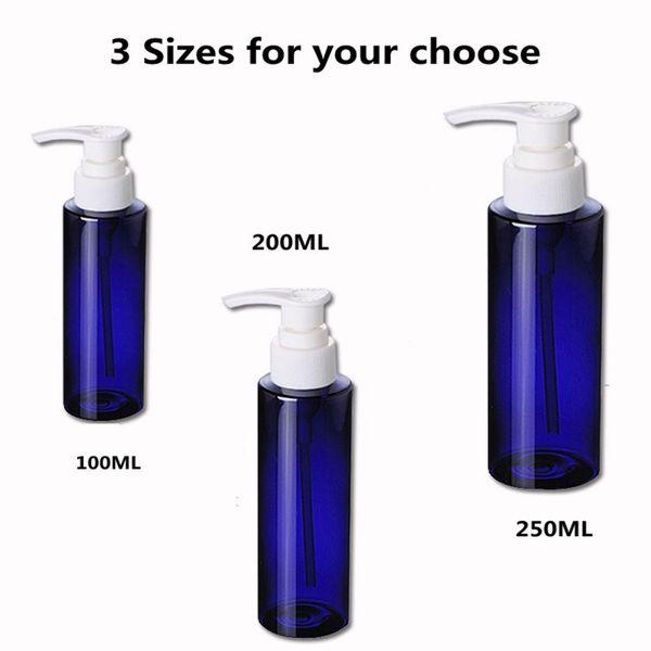 50 pcs 100 ML 8 OZ Azul Loção Plástica Garrafas Loção Bomba para Shampoo, cuidados Pessoais, loção Recarregável Boston Garrafas Recyle Em Casa