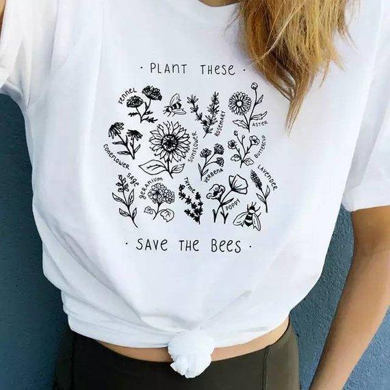 Plante estas flores silvestres Camisetas gráficas Ahorre las abejas Camiseta Algodón Proteja a los amantes de la tierra Camiseta Abejas Guardianes Ropa de entrenamiento Dropship