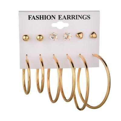 Brincos 2019 Nova Pérola em forma de U Clip On Earring Brincos Para As Mulheres Declaração Vintage Jóias 6 Par / Set E402