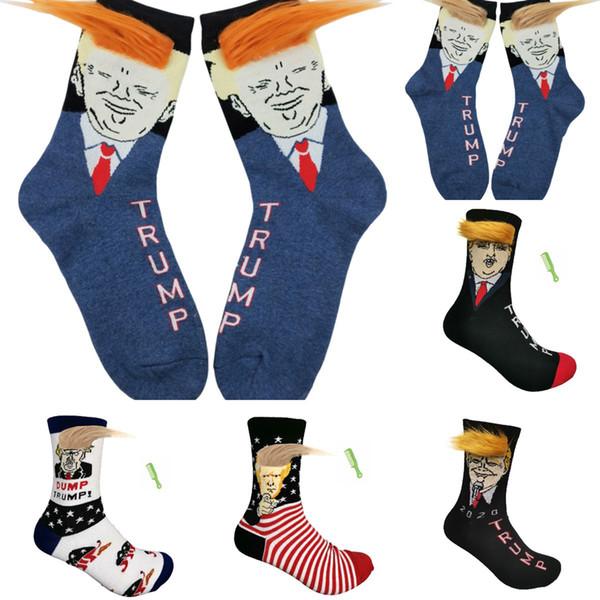 Chaussettes Trump Dump 6 Styles unisexe SAVANA Imprimer adulte Casual Socks cheveux Hip Hop Skateboard Sock 2pcs / set OOA7479