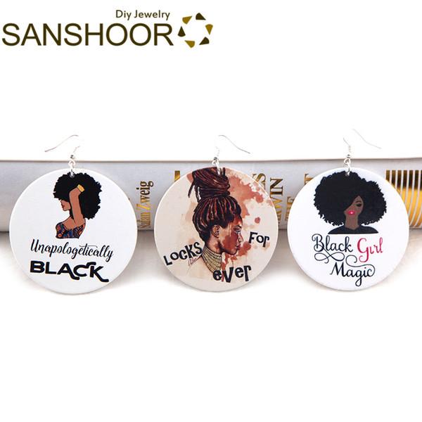 Dangle Earrings SANSHOOR Black Girl Wood Drop Earrings Locks Forever Afrocentric Magic Hair Bohemia Jewelry For Women Christmas Gifts 6Pa...