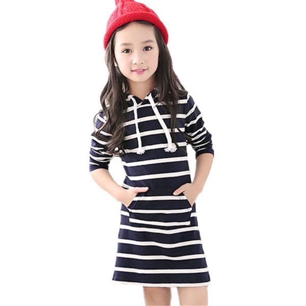 Primavera Outono Listrado Menina Vestido Casual Manga Comprida Infantil Crianças Roupas Com Capuz Vestidos Vestidos de Bebê Roupa Dos Miúdos 3-13y Q190522
