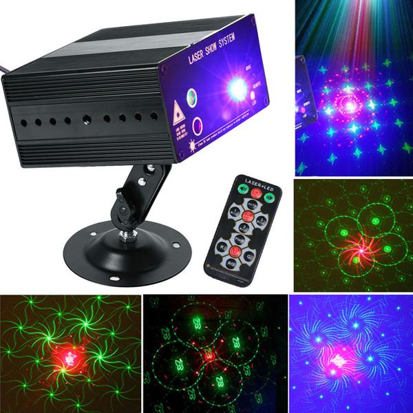 Mini 48 Pattern Laser Projector Remote/Sound Actived LED Disco Light RGB DJ Party Stage Light Christmas Lamp Decoration UK/US/EU/AU 110-240V