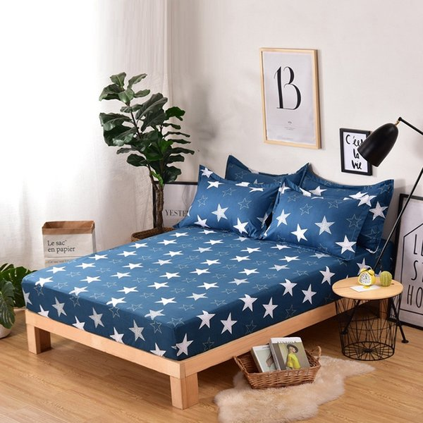 Fashion Geometric Printed Fitted Sheet Set Polyester Bed Sheets and Pillowcases Home Bedding Linens Mattress Cover with Elastic