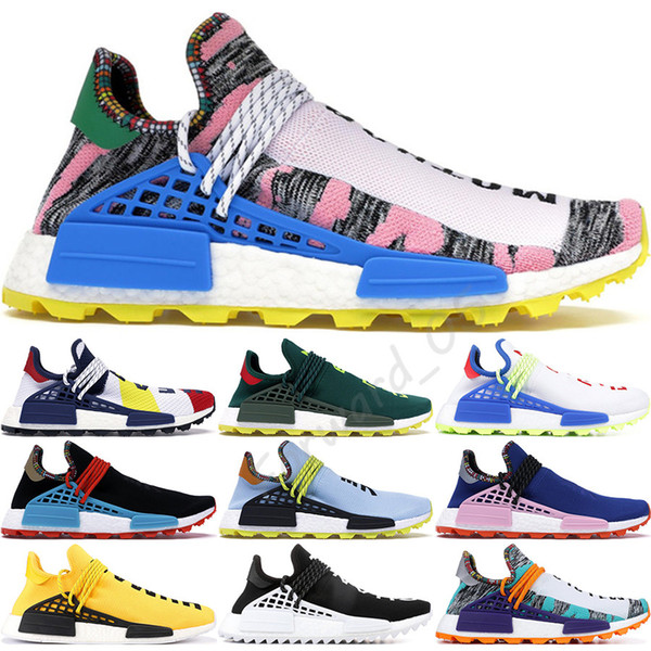 best selling NMD Human Race BBC Multi Color Pharrell Oreo Nobel Ink Mens Running Shoes Best Quality Pharrell Williams Womens Designer Shoes Size 36-47
