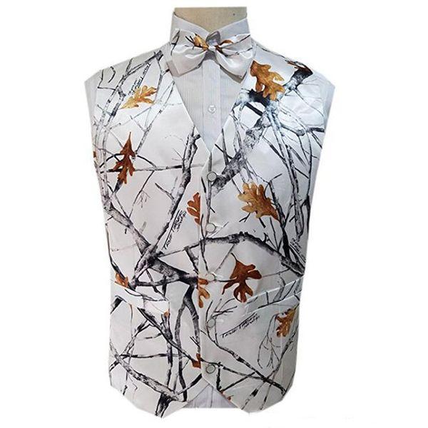 2019 camo groom vests wedding vests realtree camouflage slim fit mens vests 2 pieces sets(bow+vest) custom made thumbnail