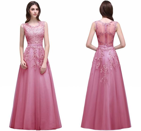 Розовое вечернее платье с бисером и кружевными аппликациями Сексуальная иллюзия с открытой шеей Бордовые длинные платья выпускного вечера Vestido de Festa Hot
