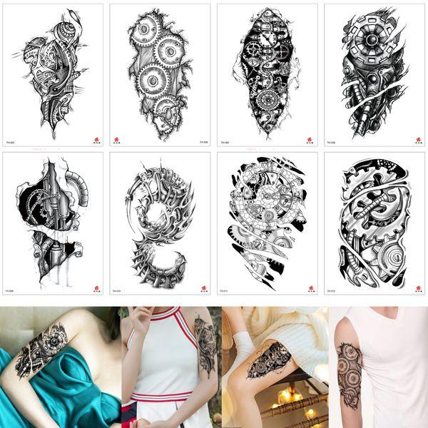 Fake Unique Waterproof Temporary Tattoo Sticker Machine Arm Wheel Gear Time Leg Body Art Tattoo Design for Women Men Black Transfer Paper 3D