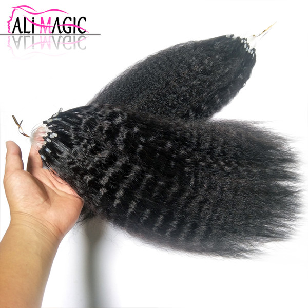 Factory Direct Kinky Curly Micro Loop Hair Extension 70g 100g/lot 100s #1B Black #4 #6 brown #27 #613 blonde 12-26inch