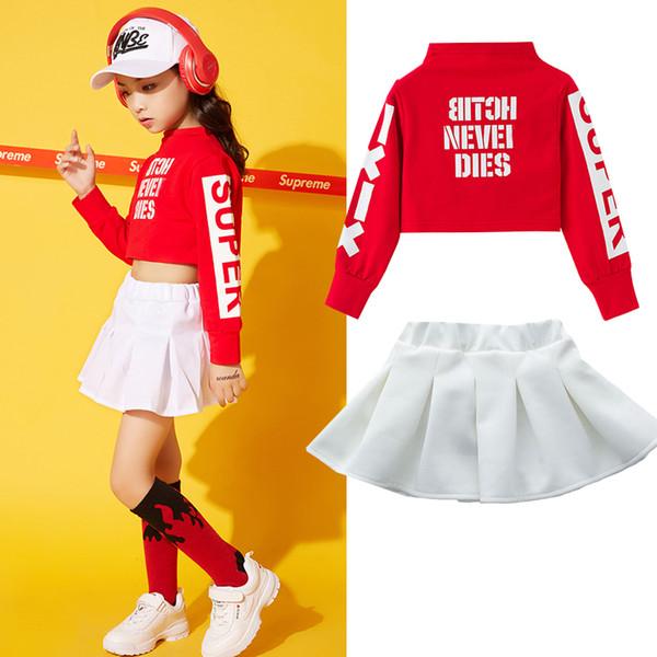 Unisex Jazz Dance Clothing Street Dance Suit Kids Autumn Korean Version Practice Set Children Hip-Hop Clothes DWY1175