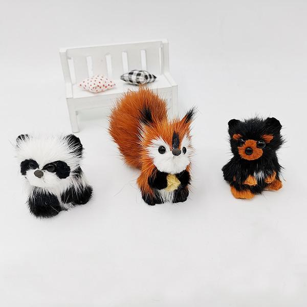simulation squirrel bear panda stuffed animal tabletop decoration interior festival party kids gift artificial cute animal plush animal mix