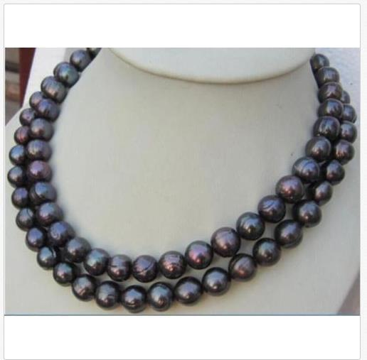 35 INCH HUGE AAA+ 11-13MM South Sea Black Pearl Necklace 14k GOLD CLASP