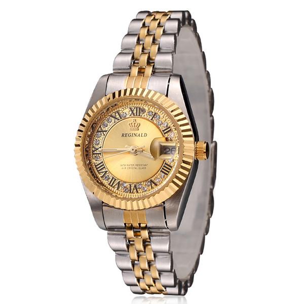 Luxury Modern Brand REGINALD Fashion Rhinestone Woman quartz calendar Top Quality watch Stainless Gold steel Dress Wristwatches High Quality