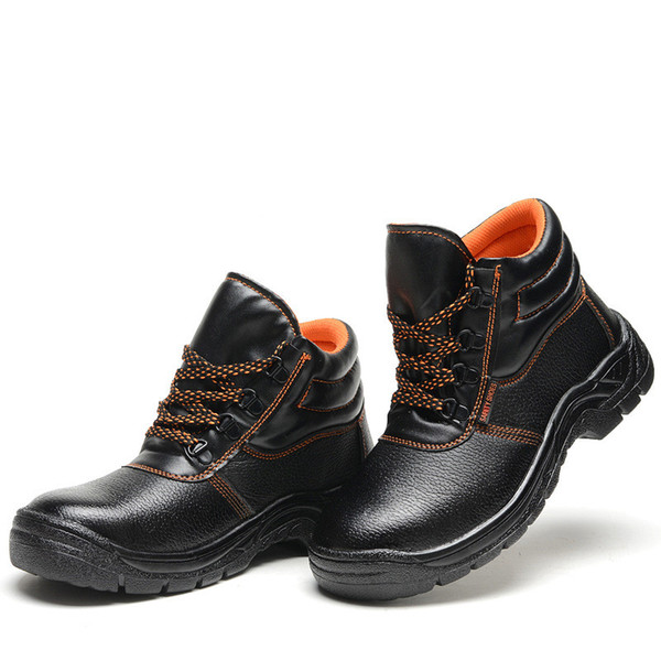 Military Combat Men's High Top Outdoor Steel Toe Cap Anti Smashing Work Boots Leather Shoes Men Iron Nose Anti-puncture Safety Shoes