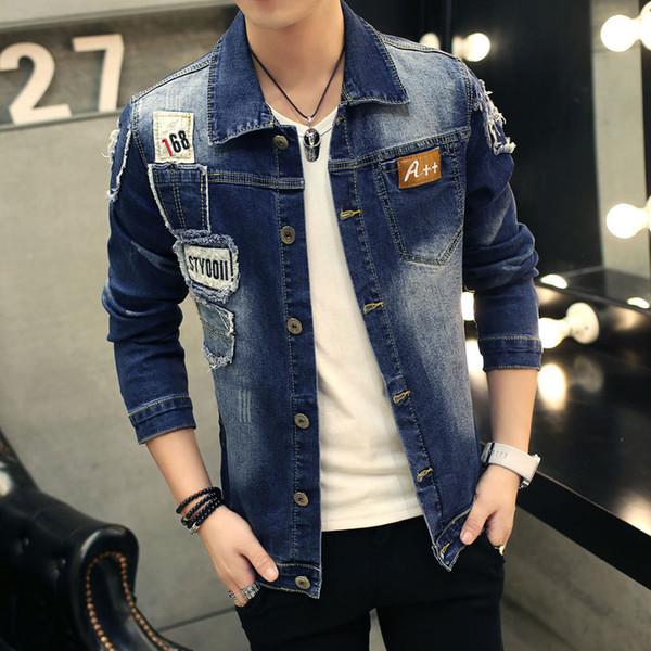 Trou Patch Denim Jeans Veste Homme Printemps 2018 d'hiver Broder Vestes Hommes Jeans Slim Fit Jaqueta Plus Size 3XL Manteau Homme