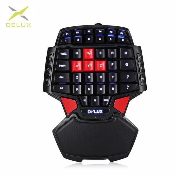 Freigabe Delux T9U Wired Gaming Keypad 41 Tasten Einhand-Folientastatur