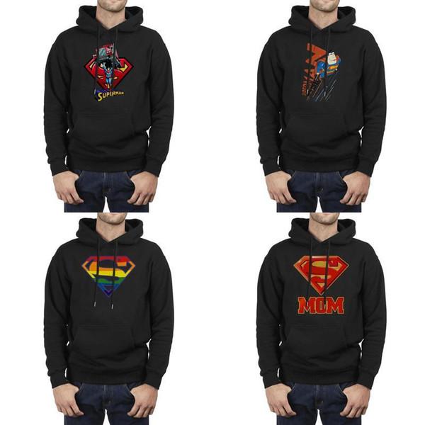 Moda Uomo Superman Super Mom DC Comics per la festa della mamma nero Inverno Felpa Design Coulisse Slim fit Felpe superman più potenti