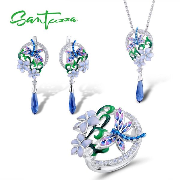Santuzza Jewelry Set 925 Sterling Silver For Woman Trendy Dragonfly Flower Ring Earrings Pendant Fashion Jewelry Handmade Enamel Y19051302