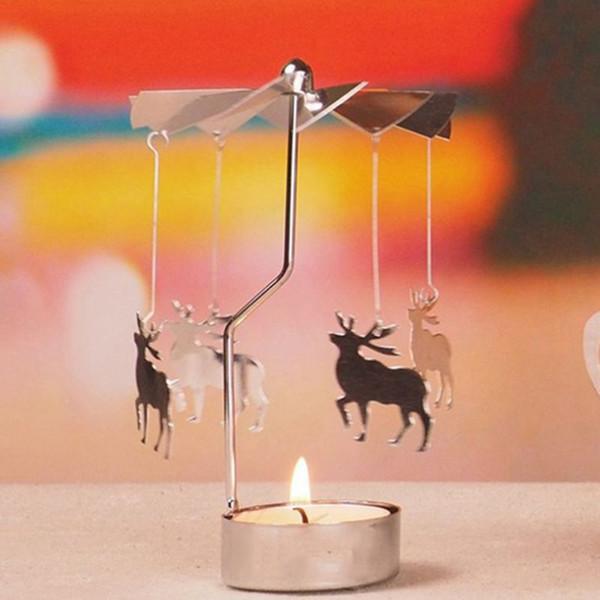 10 Arten Rotary Spinning Teelicht Kerze Metall Teelicht Halter Karussell Wohnkultur Geschenke Weihnachten / Hochzeit Kerzenhalter