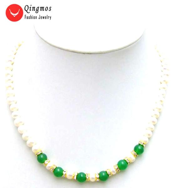 Qingmos Natürliche Perlenkette für Frauen mit Grün 8mm Jade Halskette 6-7mm Weiße Perle Colliers 17