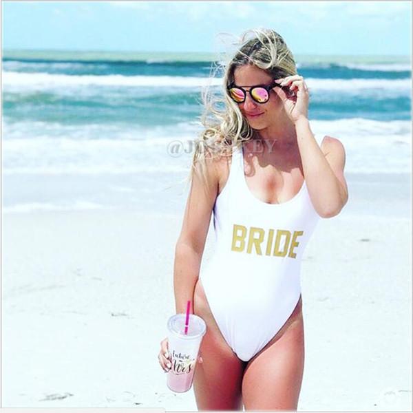 2019 New Bride Letter Swimwear Women High Waist One Piece Swimsuit Monokini Bathing Suit Summer Beachwear Bodysuit Jumpsuit Mayo Y19072701