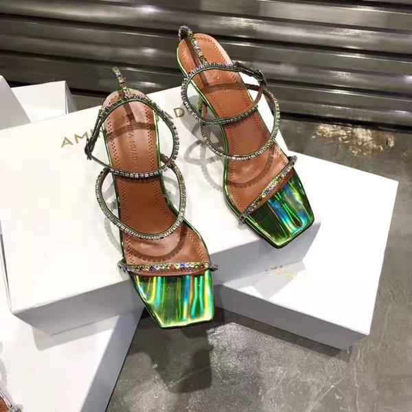 Sıcak Satış-Resmi Kaliteli Lüks Amina Muaddi Ayakkabı Kristal Süslenmiş Sandalet Kadın Tasarımcı 80mm Yüksek Topuk Gilda Deri Sandalet