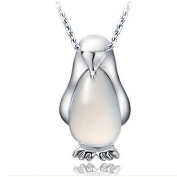 Mujeres Collar Colgante Pingüino Animal Collares Astilla Plateado Charms Opal Collar Joyería de La Vendimia Para La Muchacha Mujeres Regalo