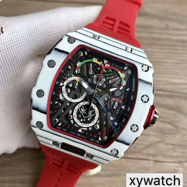 Top luxury mens watches 50-03 Watch Swiss Quartz Chronograph Movement Skeleton Dial Carbon Fiber Case Sapphire Crystal Red Rubber Strap