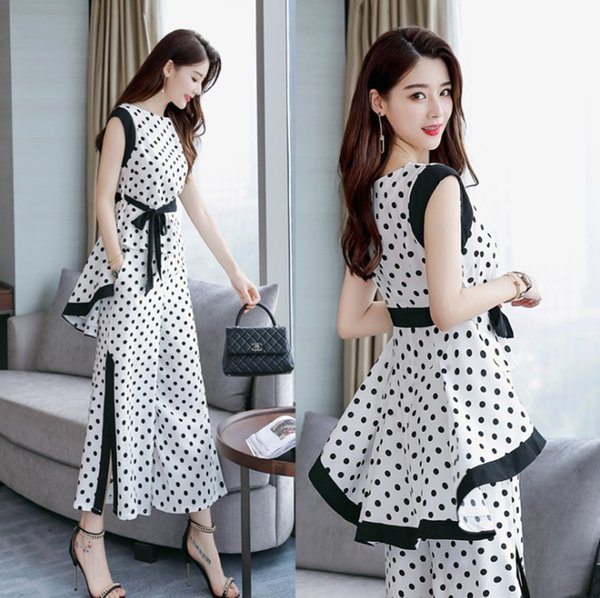 Spring and Summer new style Polka-dot chiffon shirt + wide-leg pants two-piece suit Fashion and temperament two-piece suit