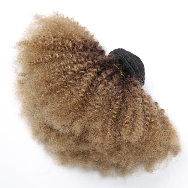 Ombre Afro Kinky Kıvırcık Saç Brezilyalı İnsan Saç Örgüleri 3 Demetleri T1b 4 27 Koyu Kök Kahverengi Bal Sarışın Çift Atkı Uzantıları