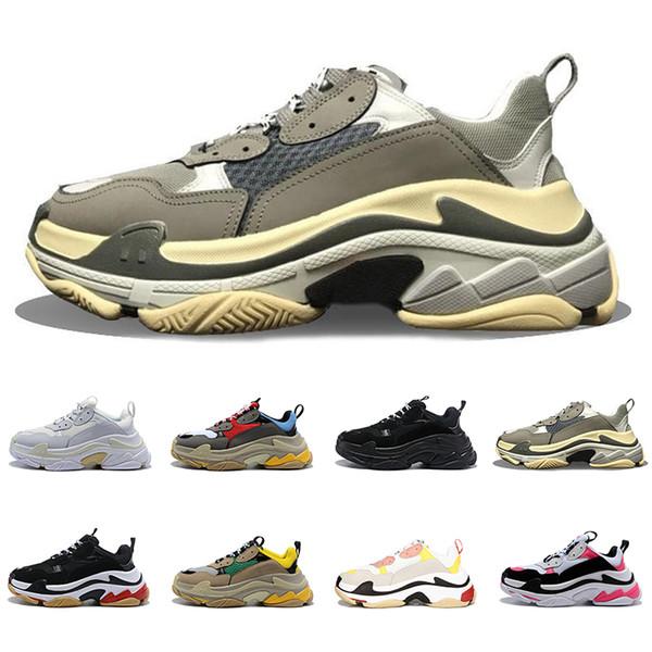 Tasarımcı Paris 17FW Triple-S 2018 Üçlü S Sneaker Desi lüks erkek Kadın Bağbozumu Eski Büyükbaba Eğitmen Spor Baba Ayakkabı Koşu Ayakkabıları