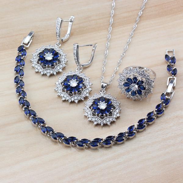 Свадебные аксессуары 925 синий циркон женщины свадебные ювелирные наборы болтаются серьги / ожерелье / браслет / кольцо и независимая подарочная коробка