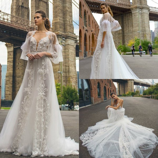 2019 New Illusion Lace Wedding Dresses Spaghetti Straps 3D Floral Appliques Beaded Bridal Gowns Solo Merav Beach Wedding Dress with Jacket