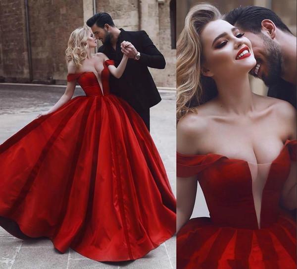 2019 Romántico Fuera del Hombro Vestidos de Novia Atractivos Rojos Oriente Medio Árabe Africano Vestido de novia Vestido de Novia Más Tamaño Personalizado