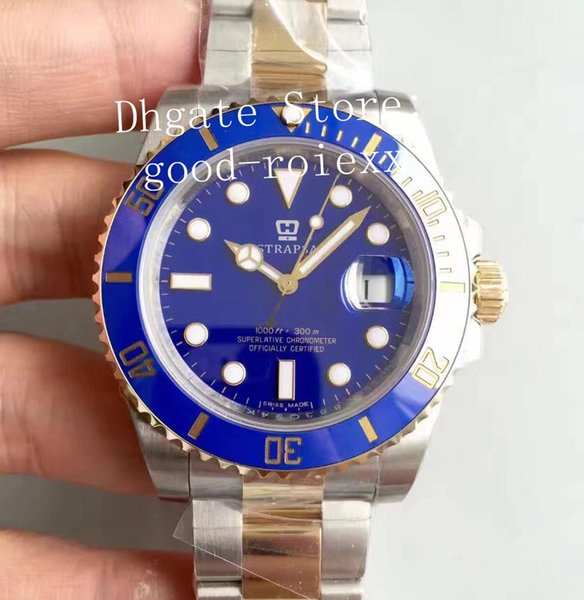 Luxury V7 Version Watch Mens Automatic Eta 2836 Movement Real Wrapped 18k Gold Never Fade Steel Dive 116613 N Factory Men Perpetual Watches