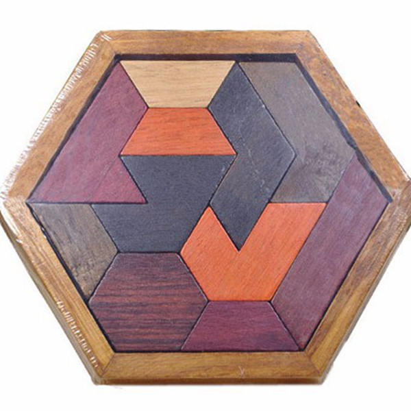 hexagon Puzzels Wood Toys for Childrens Educational Blocks Vintage Wooden Toys