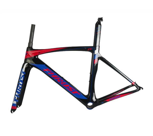 Vélo de route en fibre de carbone cadre T1000 cadre de vélo en carbone avec fourche en carbone, tige de selle en alliage pince casque