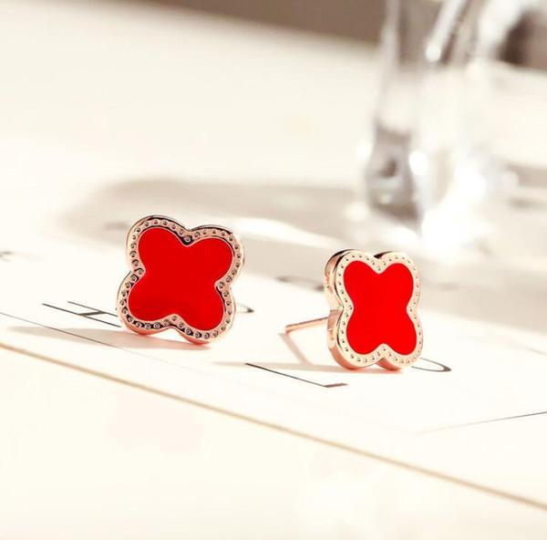 Red+Rose Gold Earrings