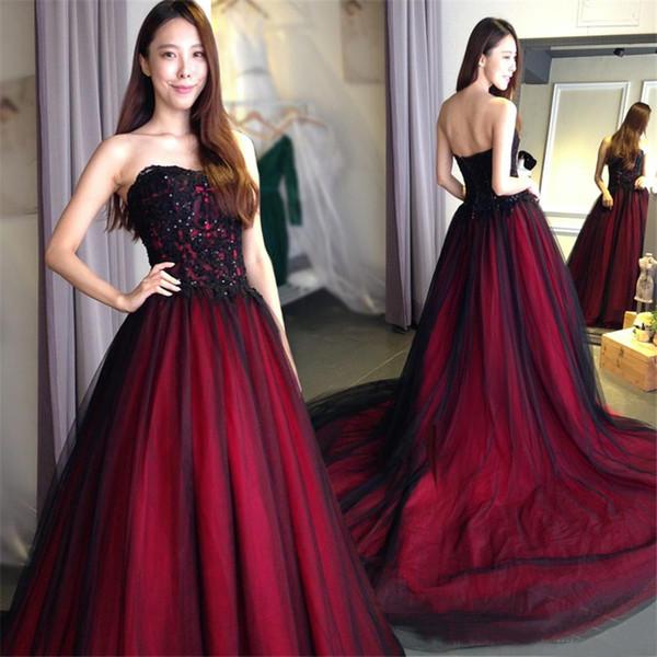 Vestido de novia vestido de bola rojo gótico y Negro vestido de novia de tul de novia Vestidos formal elegante del partido