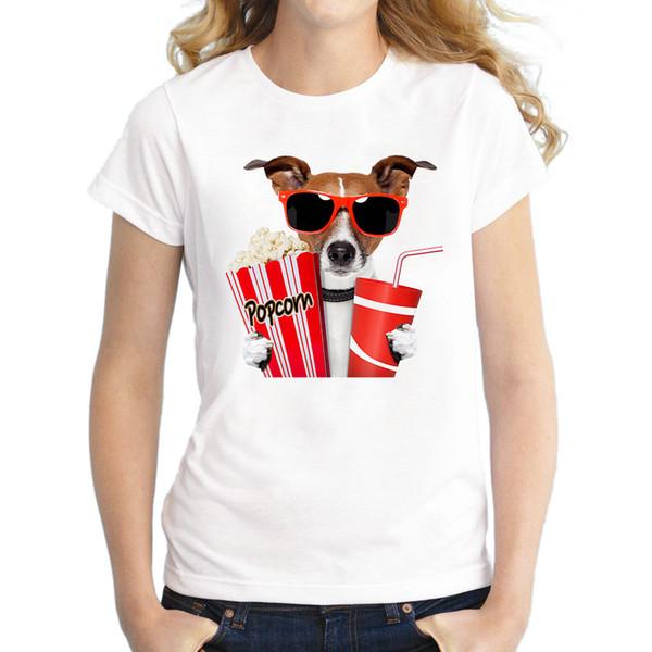 Popüler moda bayanlar Tops yaz son baskılı patlamış mısır pug tasarım Yemek çok ilginç kadın T-Shirt Sıcak Tops