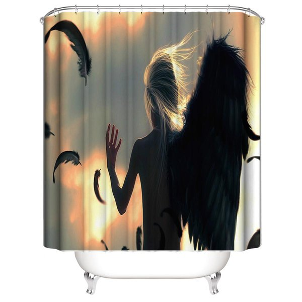 Customized Waterproof Dark Broken Angel without Wings Shower Curtains 3D Digital Printing Bathroom Curtains With Rings