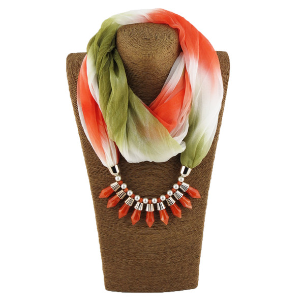 Fashionable new pendant lady chiffon gradient scarf jewelry necklace scarf scarf free delivery