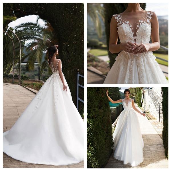 2020 Romantic Applique decorazioni Illusion-Neck una linea di abiti da sposa senza maniche in raso lunghi abiti di cerimonia nuziale pronto per la spedizione