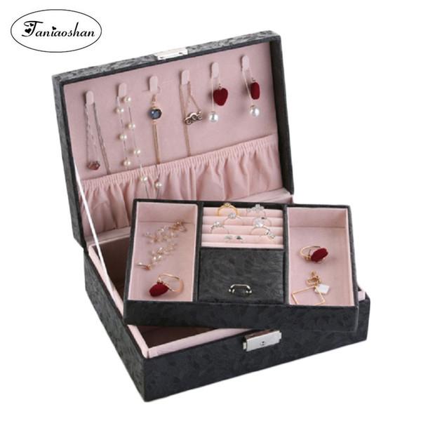 휴대용 보석 상자 PU 가죽 보석 주최자 큰 공간 목걸이 반지 저장 상자 크리스마스 선물