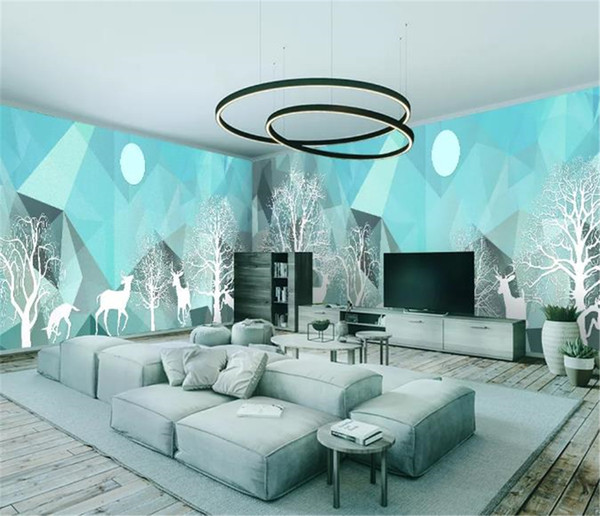 Woods Elk Modern Abstract Simple House Full Wall Background Beautiful Romantic Wallpaper