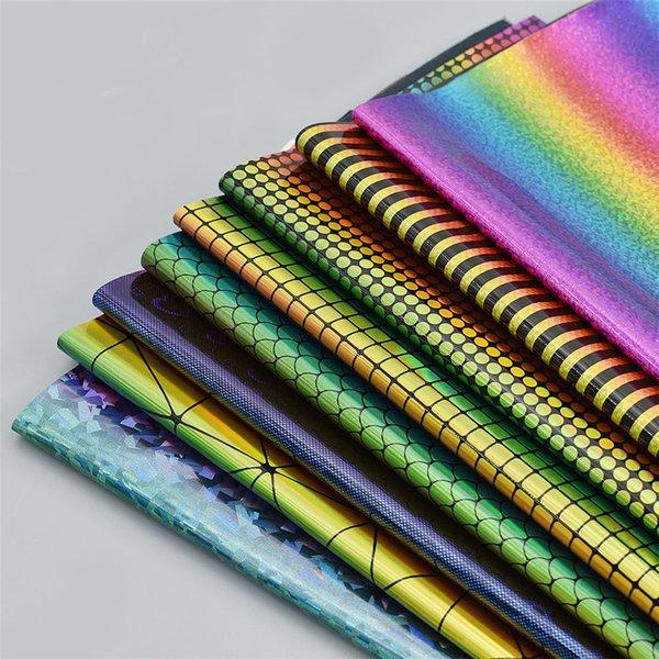 A4 Gökkuşağı Renk Noktalar Desen Baskılı Deri Kumaş Sentetik Deri Glitter Kumaş Hairbows Çantası Için Diy Dekorasyon Malzemeleri